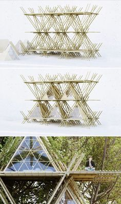 Fasterner-Free, Re-usable Bamboo Structural System by Penda // Auditorium Architecture, Timber Architecture, Amazing Architecture, Bamboo Structure, Timber Structure, Triangle Building, Pyramid House, Contemporary Baskets, Bamboo House Design