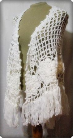 Vintage 60s Crocheted Shawl Wrap Hand Made White Long Fringe Peasant Boho Ethnic | eBay