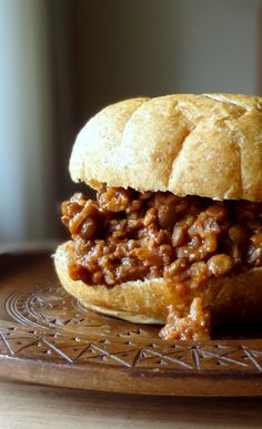 Vegetarian Sloppy Joes, made with walnuts, lentils, and brown rice. Sounds good to me!!!