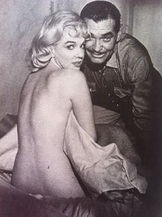 Marilyn Monroe and Clark Gable on the set of The Misfits.