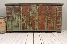Antique Indian Pitara Trunk Distressed Green  Warm Industrial Farm Chic Storage Blanket Box Media Console