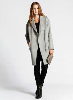 Grey Asymmetric Wool Coat #relaxedglamourxmS