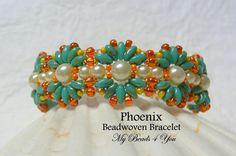 SuperDuo Beadwoven Bracelet Beadwork Bracelet Cuff by mybeads4you, $45.00