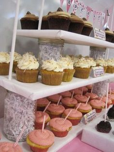 DIY cupcake stand made with mason jars and wooden planks.  Neat idea. You could customize the mason jars for any occasion.