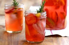 Refreshing sangria on a hot day made with a homemade fresh strawberry and rosemary syrup. Change up the fruits in the sangria to your preference and what is in season. Summer Drinks, Cocktail Drinks, Fun Drinks, Beverages, Evening Cocktail, Alcoholic Cocktails, Refreshing Drinks, Bon Appetit, Tostadas