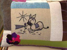 Barjis Design cushion The Little Donkey #barjis #lebanon #fabrics #colours #designers #poufs #barjisdesign #furniture #beirut #patchwork #decor #interiordesign