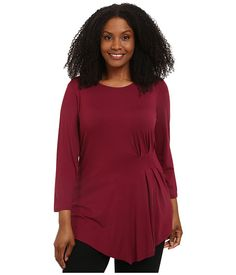 Vince Camuto Plus Plus Size 3/4 Sleeve Side Ruched Top Merlot - Zappos.com Free Shipping BOTH Ways