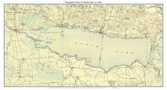 "Oneida Lake - ca. 1906 USGS Topographical Map Custom Composite Print New York Finger Lakes. We made this old map of Oneida Lake, New York by combining 6 separate USGS ""topo"" maps. The result is a nice picture of the lake before the automobile changed the American landscape."