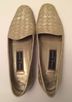 48a971419824 Womens Cole Haan Italian Silver Woven Leather Size 7 AA Loafer Shoes   ColeHaan  LoafersMoccasins