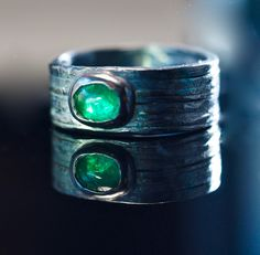 Mens Emerald Engagement Ring Natural Emerald Engagement Ring