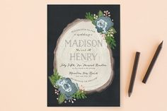 """""""Rustic Wooded Romance"""" - Floral & Botanical, Rustic Foil-pressed Wedding Invitations in Bluebell by Pistols."""