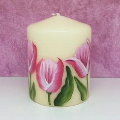 Hand painted tulip small pillar candle - dark pink £7.50