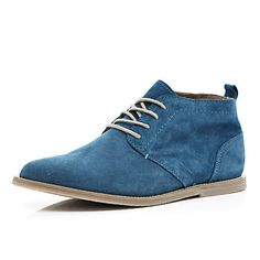 Men's blue suede lace up desert boots #riverisland