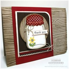 Love the woodgrain embossing folder with this card and these colors. Stampin' Up! Perfectly Preserved