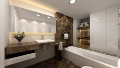 Bathroom Luxurious Contemporary Bathroom With Large Mirror Lighting White Sink Along And Vase With Ceramic Floor Chromed Towel Rack Holders Also White Bathtub Beautiful Modern Contemporary Bathroom Design Ideas For Dazzling Look