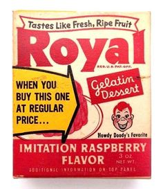 Vintage 1950's Unopened Box ROYAL Howdy Doody GELATIN DESSERT MIX Raspberry…