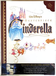 Walt Disney Masterpiece Cinderella Exclusive Deluxe VHS Video | Etsy Mickey Mouse And Friends, Walt Disney, Cinderella, Stuff To Buy, Etsy