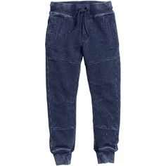 Pants $19.99 (27 CAD) via Polyvore featuring pants, women pants, elastic pants, denim jogger pants, jogger pants and denim trousers