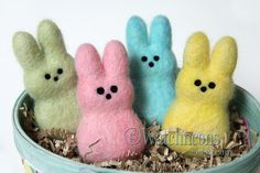 Set of 4 Needle Felted Wool Easter Peep Style by TheFeltedCatpads
