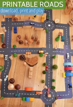 Printable Roads for Awesome Imaginative Play. Do your kids love playing with cars? These free printable roads make playing with cars even more fun! Toddler Activities, Preschool Activities, Kindergarten Montessori, Indoor Activities, Toddler Toys, Block Area, Transportation Theme, Preschool Transportation, Imaginative Play