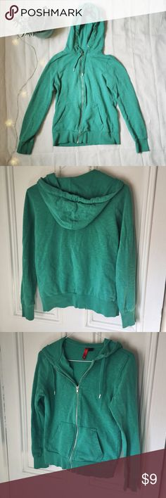 """H&M Divided comfy teal hoodie jacket This cozy jacket is in great condition and is a US size 6.   Bust: 34"""", sleeve circumference: 16"""" Divided Jackets & Coats"""