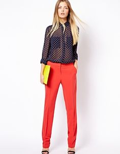 Image 1 ofASOS Trousers in Straight Leg with Jet Pocket