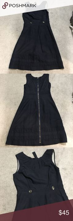 Leifsdottir Navy Blue dress with sweet details Navy blue dress from Leifsdottir by Anthropologie. Has full zipper back detail. Has sweet details including two front buttons, pleating, hidden front pockets. Inner lining is soft cream with hidden crochet detail. Does not have material tag but lining seems silk and dress seems polyester. Hits around knee length.                                    BUNDLE DISCOUNT: 15% off 2+ items ALL REASONABLE OFFERS CONSIDERED! 🎉 Anthropologie Dresses