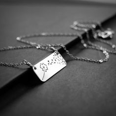 Horizontal Bar Dandelion Necklace Hand Stamped by TheAzureRose