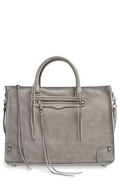 Free shipping and returns on Rebecca Minkoff 'Large Regan' Satchel at Nordstrom.com. Mixed-metal studs and dangling tassels underscore the boho-chic attitude of a spacious, slouchy satchel furnished with a whipstitched carry handle and optional, adjustable crossbody strap to add styling versatility.