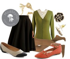 """""""Children's Librarian Look"""" by modcloth ❤ liked on Polyvore"""