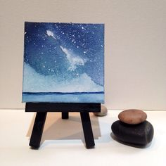 $28.00 Galaxy Mini Painting, Night Sky Watercolor on Canvas, Constellations, Northern Lights by ElissaSueWatercolors on Etsy