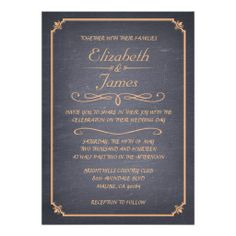 Peach Vintage Chalkboard Wedding Invitations