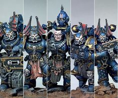 Warhammer 40k Figures, Warhammer Models, Warhammer 40k Miniatures, Warhammer 40000, Night Lords, Chaos 40k, Mini Paintings, Paint Schemes, Space Marine