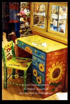 Vintage desk painted with springtime colors, bright flowers, and butterflies. This design is copyrighted by Reincarnations Painted Furniture. All Rights Reserved. (may be used by clubs/features on DA) Whimsical Painted Furniture, Painted Chairs, Hand Painted Furniture, Funky Furniture, Colorful Furniture, Paint Furniture, Repurposed Furniture, Furniture Projects, Furniture Makeover