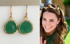 Kate Middleton Genuine Green Onyx Gold Gemstone Drop Earrings