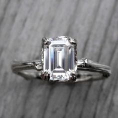Emerald Cut Forever Brilliant Moissanite Twig Engagement Ring, Carved Floral Setting from Kristin Coffin Jewelry Modern Engagement Rings, Alternative Engagement Rings, Forever Brilliant Moissanite, Moissanite Wedding Rings, Wedding Rings Vintage, Vintage Rings, Love Ring, Diamond Are A Girls Best Friend, Beautiful Rings