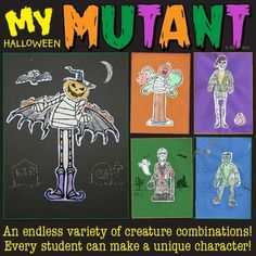 Halloween Activities! This halloween activity lets kids make a unique Halloween character out of bats, pumpkins, zombies, vampires, mermaids and more.