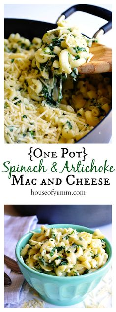 {One Pot} Spinach & Artichoke Mac and Cheese. A one dish cheesy pasta dish perfect for a family dinner. {One Pot} Spinach & Artichoke Mac and Cheese. A one dish cheesy pasta dish perfect for a family dinner. Pasta Recipes, Dinner Recipes, Cooking Recipes, Cake Recipes, Cheese Recipes, I Love Food, Good Food, Yummy Food, Al Dente