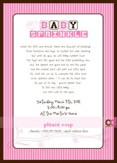 """Sprinkle"" Invitations wording- wish I would have found this a few weeks ago! So cute!"