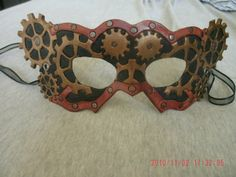Hand Tooled Leather Steampunk Mask by MooHideArtist on Etsy, $60.00