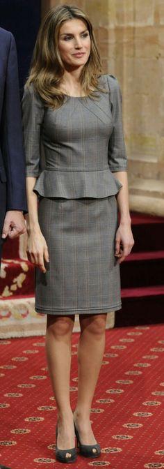 Queen Letizia - Felipe Varela glen plaid peplum dress.