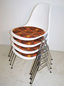 Vitra eames stacking chairs retro fabric seats
