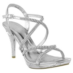 a7f766edb46 Stiletto Womens Diamante High Heel Shoes Strappy Prom Bridal Sandals Size