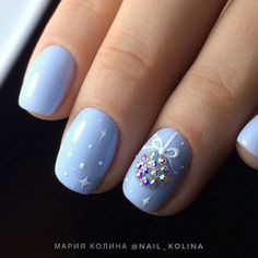 Tag for winter : winter holiday nails christmas nail art designs Christmas Nail Art Designs, Winter Nail Designs, Winter Nail Art, Winter Nails, Xmas Nails, Holiday Nails, Diy Nails, Christmas Nails 2019, Baby Blue Nails