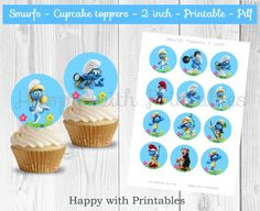 Smurfs cupcake toppers - Blue - Smurfs cake toppers - Smurfs 2 inch Toppers - Smurfs - Smurfs party - Smurfs printable- Smurfette - Papa by HappywithPrintables on Etsy