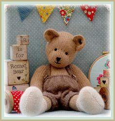 ROMEO Bear & Teddy Bear Toy Knitting Pattern& by maryjanestearoom Teddy Bear Knitting Pattern, Knitted Teddy Bear, Teddy Bear Toys, Baby Knitting, Knitting Patterns, Knitting Needles, Teddy Bears, Free Knitting, Dk Weight Yarn