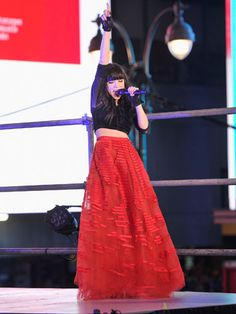 Celeb New Year's Eve Outfits! Carly Rae performed in Times Square in a major red Sachin + Babi maxi skirt and a cute, black crop top.