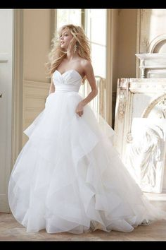 Layered Tulle Ball Gown.