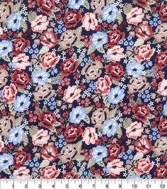 Keepsake Calico Cotton Fabric-Floral Packed Navy