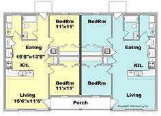 Duplex plan PlanSource, Inc Guest House Plans, Sims 4 House Plans, 2 Bedroom House Plans, Pole Barn House Plans, Duplex Floor Plans, Apartment Floor Plans, House Floor Plans, House Construction Plan, Duplex House Design